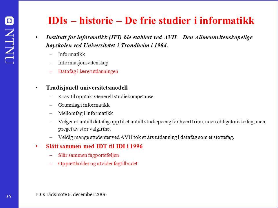 35 IDIs rådsmøte 6. desember 2006 IDIs – historie – De frie studier i informatikk Institutt for informatikk (IFI) ble etablert ved AVH – Den Allmennvi