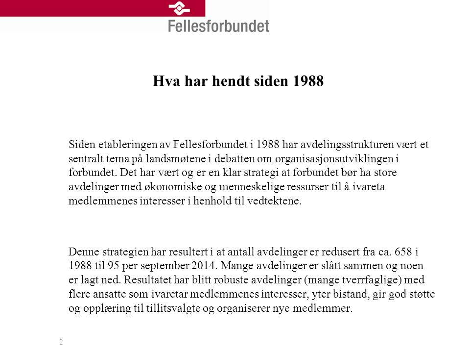Hva har hendt siden 1988 Siden etableringen av Fellesforbundet i 1988 har avdelingsstrukturen vært et sentralt tema på landsmøtene i debatten om organ
