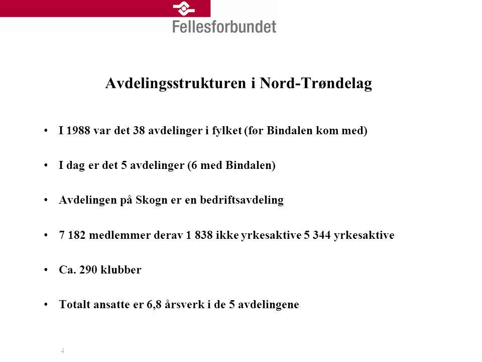 Avdelingsstrukturen i Nord-Trøndelag I 1988 var det 38 avdelinger i fylket (før Bindalen kom med) I dag er det 5 avdelinger (6 med Bindalen) Avdelingen på Skogn er en bedriftsavdeling 7 182 medlemmer derav 1 838 ikke yrkesaktive 5 344 yrkesaktive Ca.