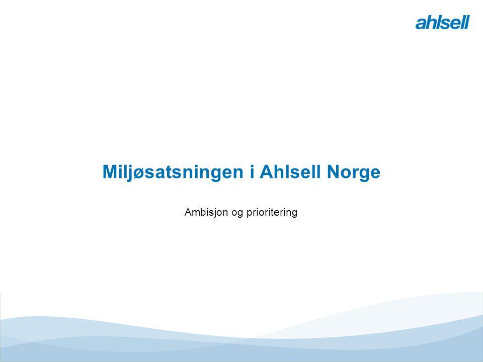 Miljøsatsningen i Ahlsell Norge Ambisjon og prioritering