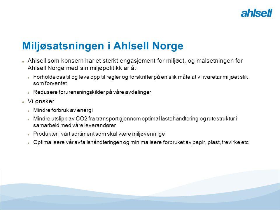 Miljøsatsningen i Ahlsell Norge Ahlsell som konsern har et sterkt engasjement for miljøet, og målsetningen for Ahlsell Norge med sin miljøpolitikk er å: Forholde oss til og leve opp til regler og forskrifter på en slik måte at vi ivaretar miljøet slik som forventet Redusere forurensningskilder på våre avdelinger Vi ønsker Mindre forbruk av energi Mindre utslipp av CO2 fra transport gjennom optimal lastehåndtering og rutestruktur i samarbeid med våre leverandører Produkter i vårt sortiment som skal være miljøvennlige Optimalisere vår avfallshåndteringen og minimalisere forbruket av papir, plast, trevirke etc