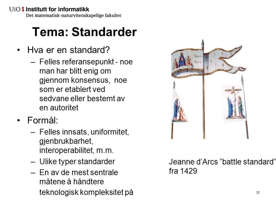 Tema: Standarder Hva er en standard? –Felles referansepunkt - noe man har blitt enig om gjennom konsensus, noe som er etablert ved sedvane eller beste