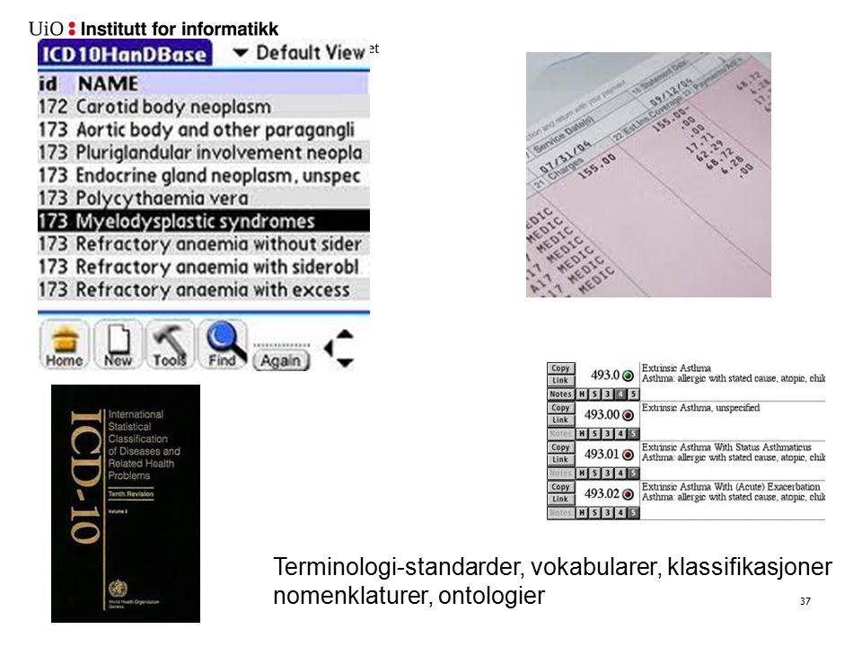 37 Terminologi-standarder, vokabularer, klassifikasjoner nomenklaturer, ontologier