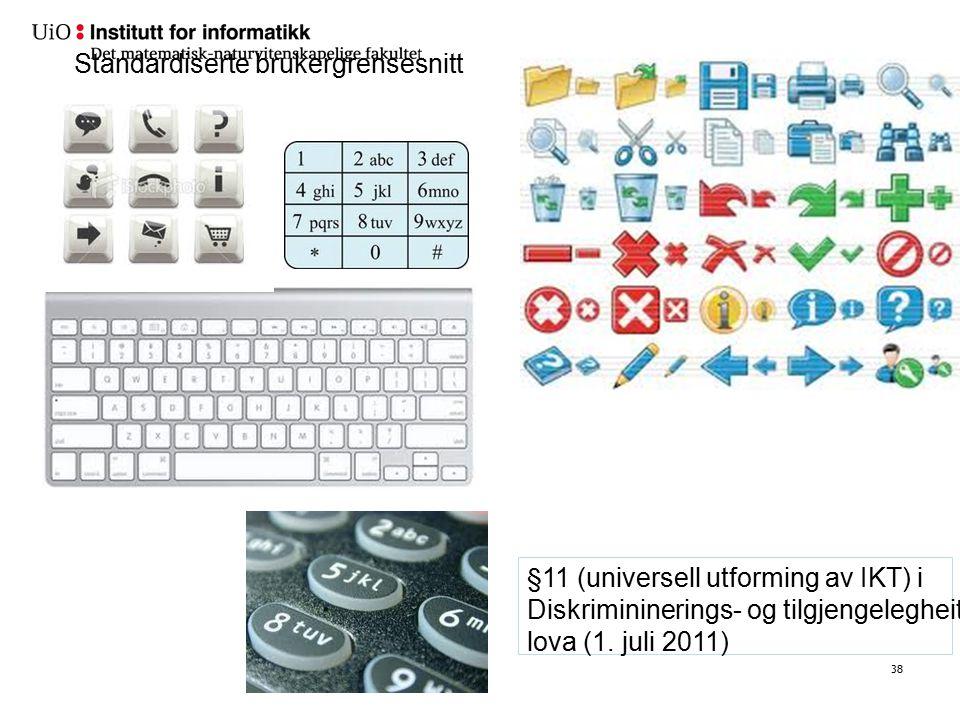 38 Standardiserte brukergrensesnitt §11 (universell utforming av IKT) i Diskrimininerings- og tilgjengelegheits- lova (1. juli 2011)