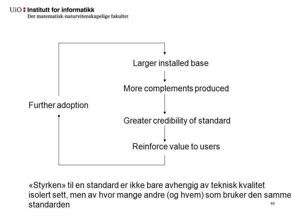 48 Larger installed base More complements produced Greater credibility of standard Reinforce value to users Further adoption «Styrken» til en standard