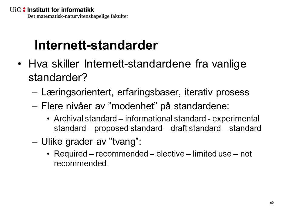 """Internett-standarder Hva skiller Internett-standardene fra vanlige standarder? –Læringsorientert, erfaringsbaser, iterativ prosess –Flere nivåer av """"m"""