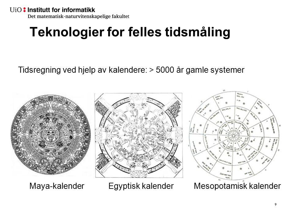 Teknologier for felles tidsmåling 9 Mesopotamisk kalenderEgyptisk kalenderMaya-kalender Tidsregning ved hjelp av kalendere: > 5000 år gamle systemer