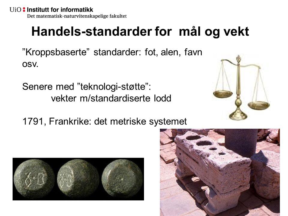"""Handels-standarder for mål og vekt 10 """"Kroppsbaserte"""" standarder: fot, alen, favn osv. Senere med """"teknologi-støtte"""": vekter m/standardiserte lodd 179"""