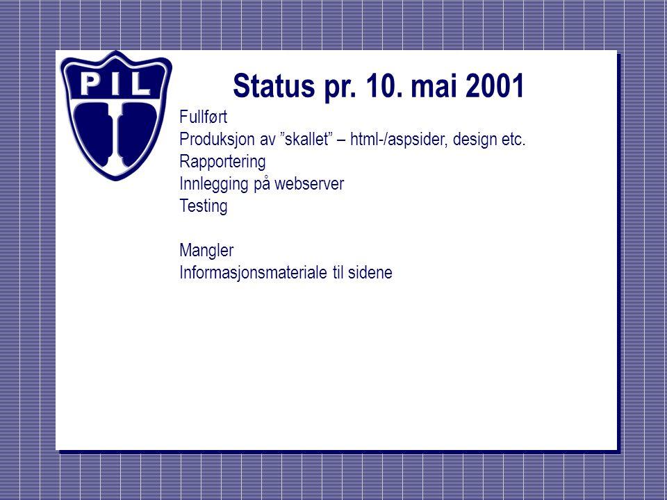 """Status pr. 10. mai 2001 Fullført Produksjon av """"skallet"""" – html-/aspsider, design etc. Rapportering Innlegging på webserver Testing Mangler Informasjo"""