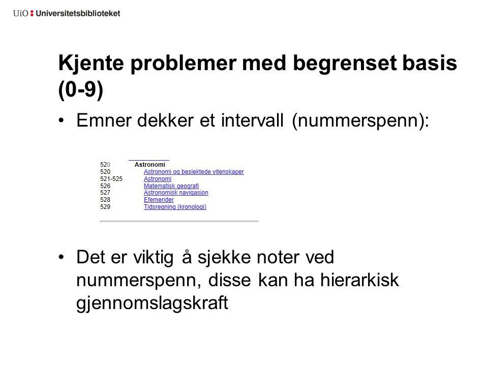 Kjente problemer med begrenset basis (0-9) Emner dekker et intervall (nummerspenn): Det er viktig å sjekke noter ved nummerspenn, disse kan ha hierark