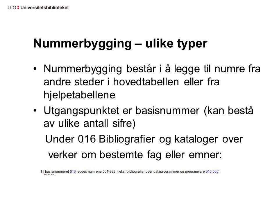 Nummerbygging – ulike typer Nummerbygging består i å legge til numre fra andre steder i hovedtabellen eller fra hjelpetabellene Utgangspunktet er basi