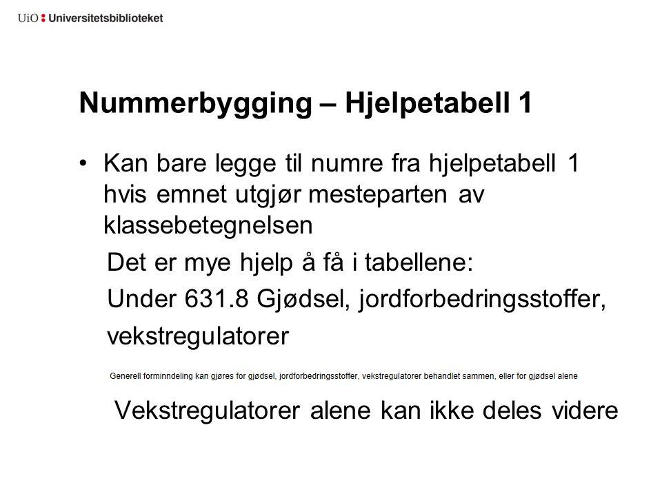Nummerbygging – Hjelpetabell 1 Kan bare legge til numre fra hjelpetabell 1 hvis emnet utgjør mesteparten av klassebetegnelsen Det er mye hjelp å få i