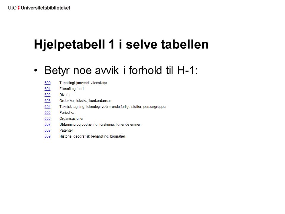 Hjelpetabell 1 i selve tabellen Betyr noe avvik i forhold til H-1: