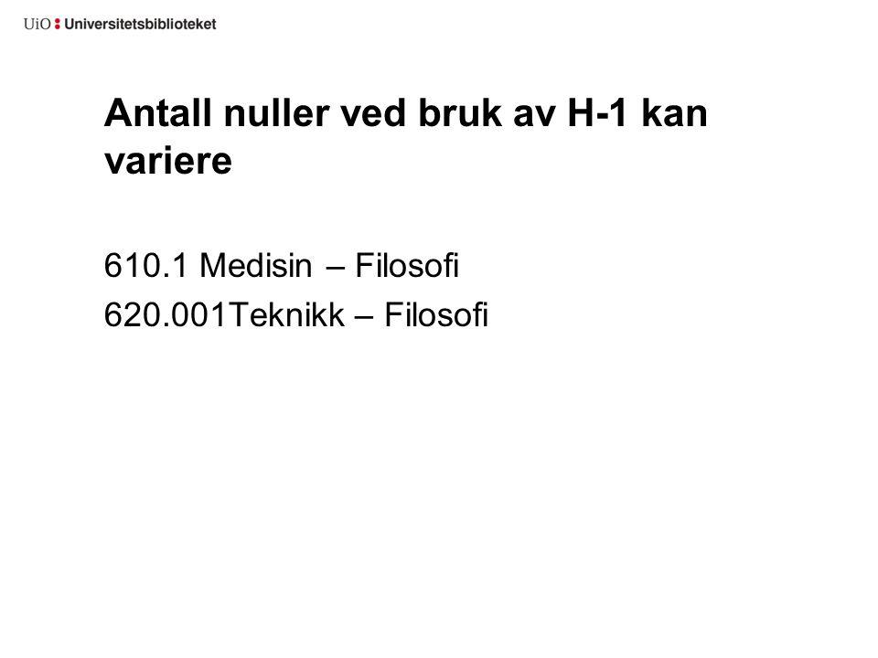 Antall nuller ved bruk av H-1 kan variere 610.1 Medisin – Filosofi 620.001Teknikk – Filosofi