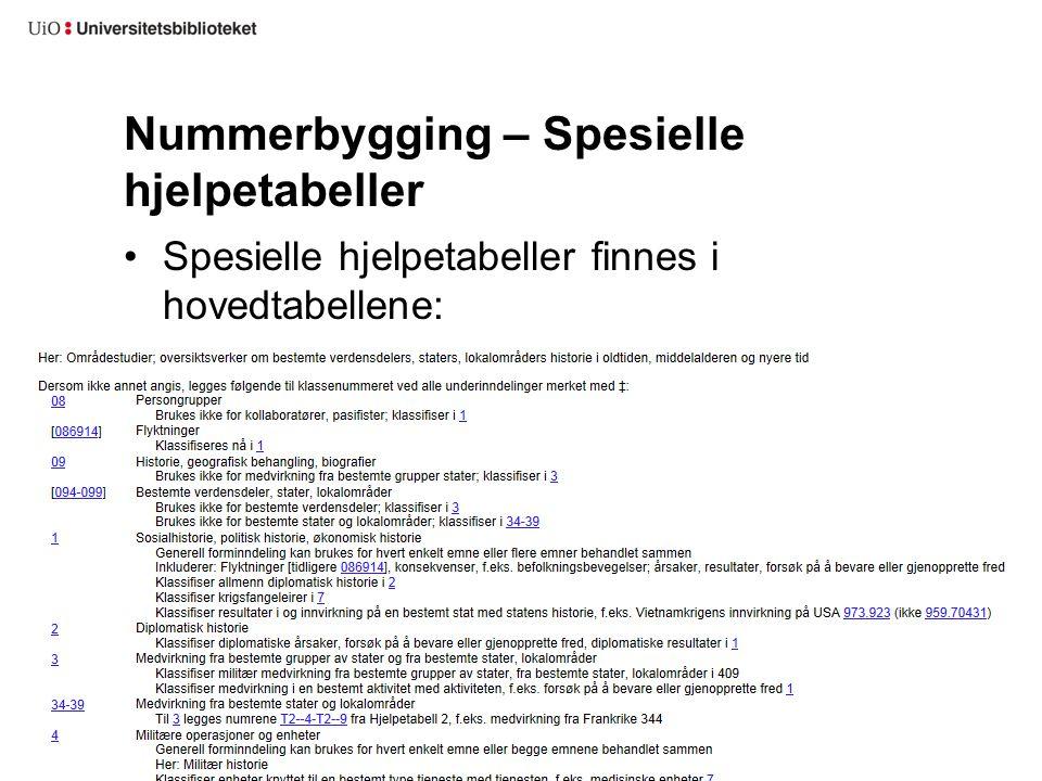 Nummerbygging – Spesielle hjelpetabeller Spesielle hjelpetabeller finnes i hovedtabellene: