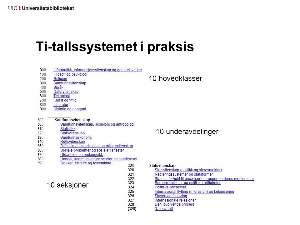 Ti-tallssystemet i praksis 10 underavdelinger 10 hovedklasser 10 seksjoner