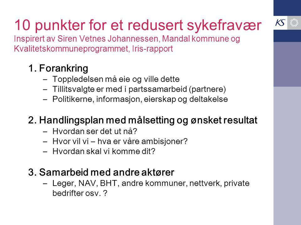10 punkter for et redusert sykefravær Inspirert av Siren Vetnes Johannessen, Mandal kommune og Kvalitetskommuneprogrammet, Iris-rapport 1. Forankring
