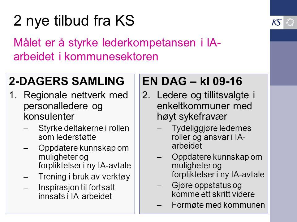 2 nye tilbud fra KS 2-DAGERS SAMLING 1.Regionale nettverk med personalledere og konsulenter –Styrke deltakerne i rollen som lederstøtte –Oppdatere kun