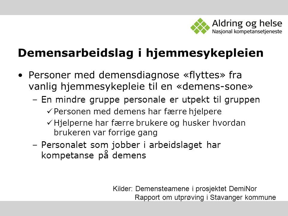 Demensarbeidslag i hjemmesykepleien Personer med demensdiagnose «flyttes» fra vanlig hjemmesykepleie til en «demens-sone» –En mindre gruppe personale