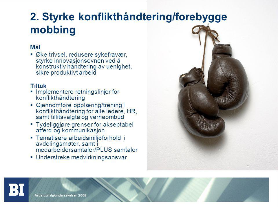 Arbeidsmiljøundersøkelsen 2008 2. Styrke konflikthåndtering/forebygge mobbing Mål  Øke trivsel, redusere sykefravær, styrke innovasjonsevnen ved å ko