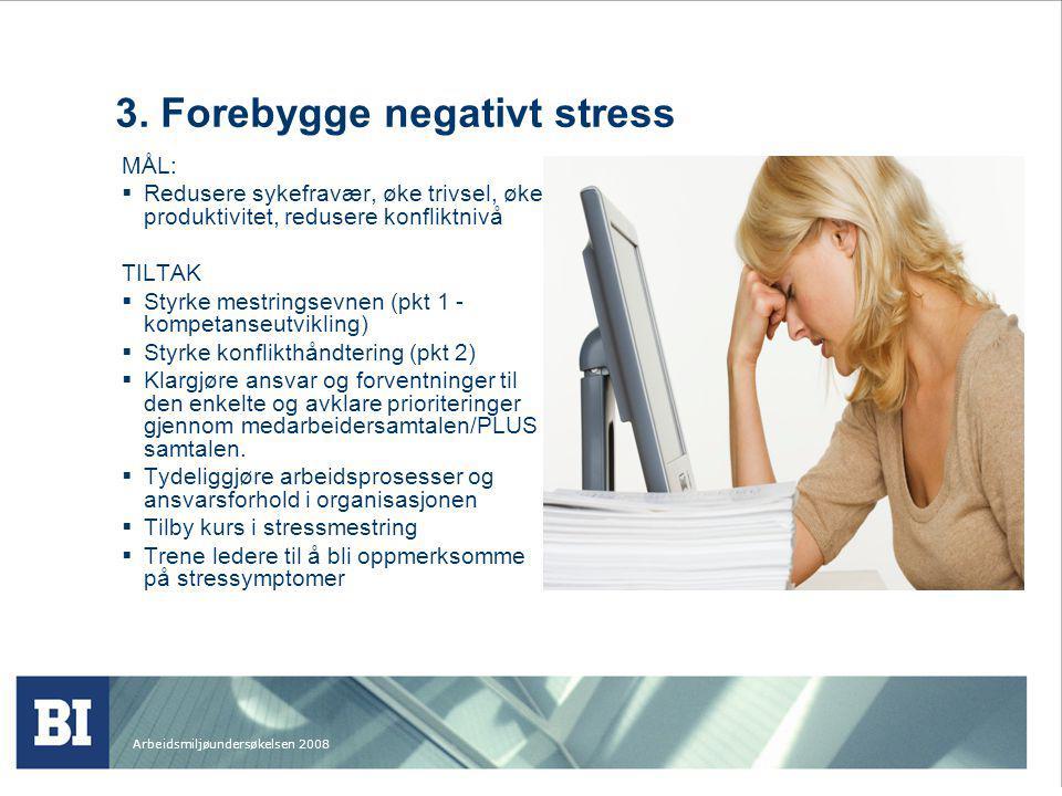 Arbeidsmiljøundersøkelsen 2008 3. Forebygge negativt stress MÅL:  Redusere sykefravær, øke trivsel, øke produktivitet, redusere konfliktnivå TILTAK 