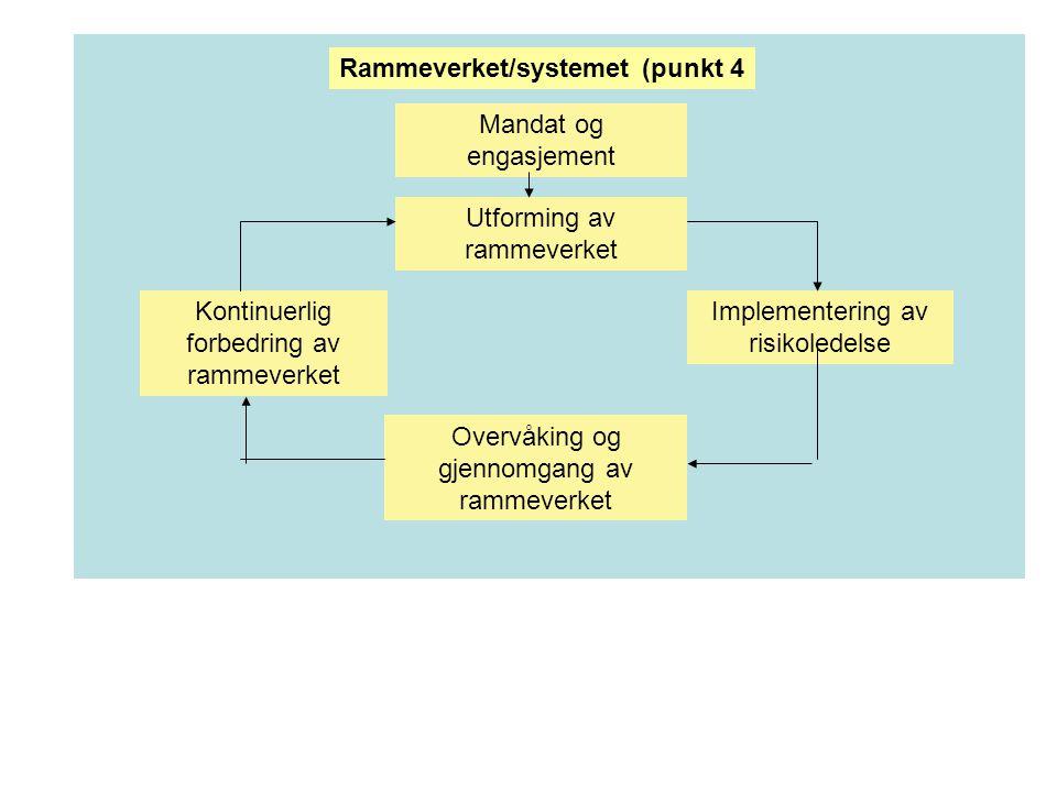 Mandat og engasjement Utforming av rammeverket Implementering av risikoledelse Kontinuerlig forbedring av rammeverket Overvåking og gjennomgang av rammeverket Rammeverket/systemet (punkt 4
