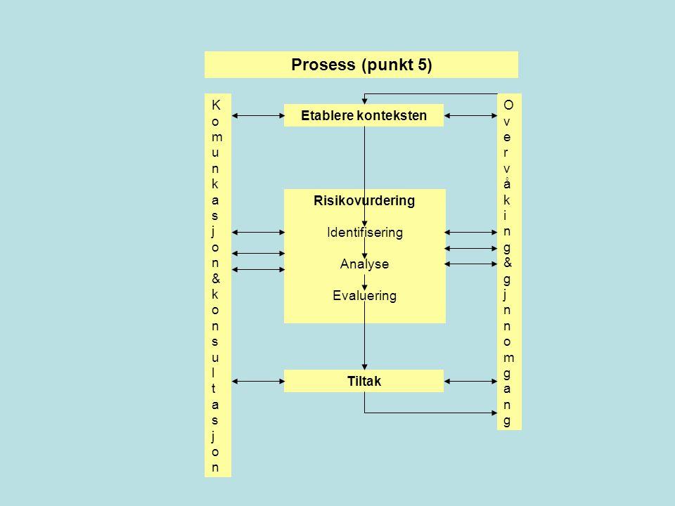 Etablere konteksten Risikovurdering Identifisering Analyse Evaluering Prosess (punkt 5) Tiltak Komunkasjon&konsultasjonKomunkasjon&konsultasjon Overvåking&gjnnomgangOvervåking&gjnnomgang