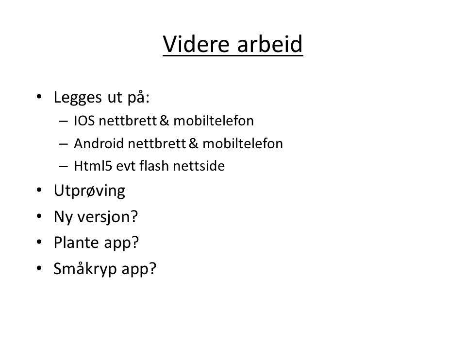 Videre arbeid Legges ut på: – IOS nettbrett & mobiltelefon – Android nettbrett & mobiltelefon – Html5 evt flash nettside Utprøving Ny versjon? Plante
