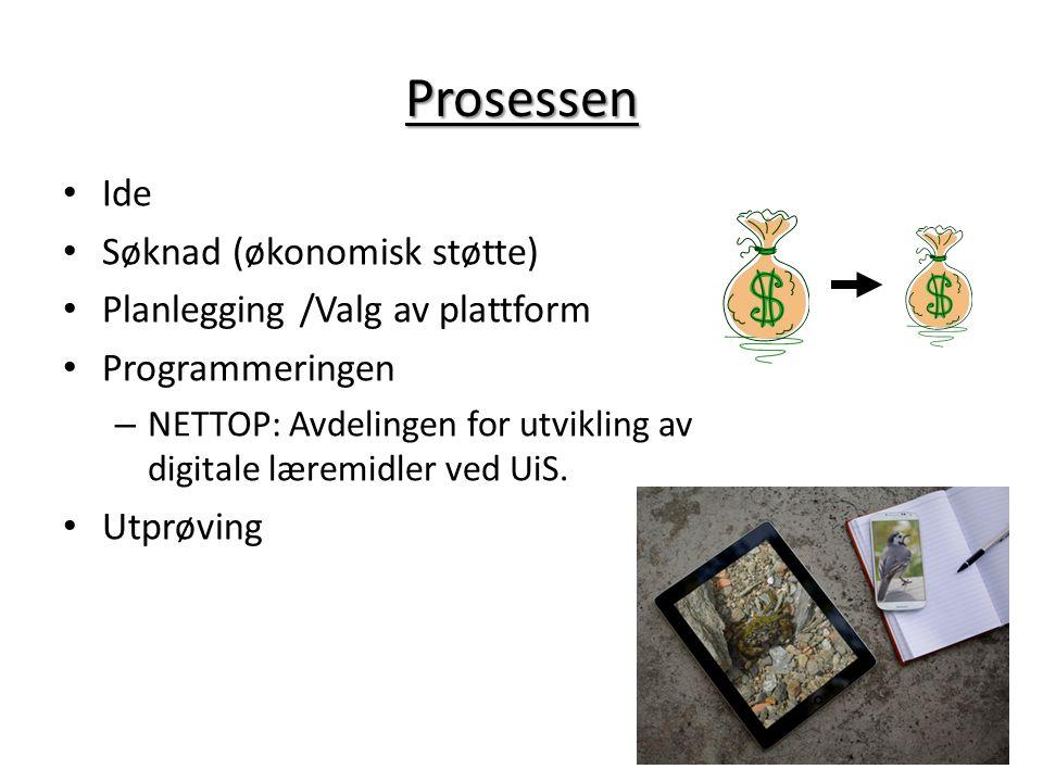 Prosessen Ide Søknad (økonomisk støtte) Planlegging /Valg av plattform Programmeringen – NETTOP: Avdelingen for utvikling av digitale læremidler ved U