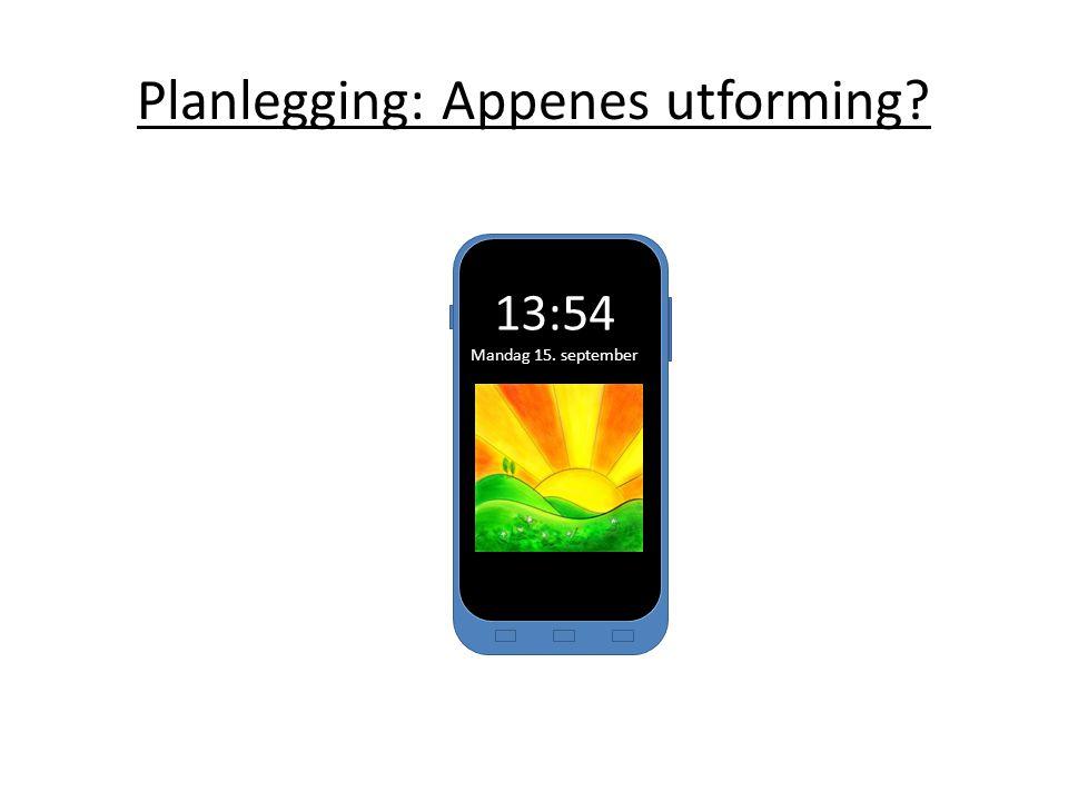 13:54 Mandag 15. september Planlegging: Appenes utforming?