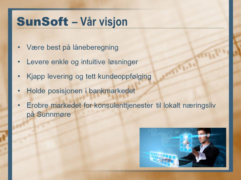 SunSoft – Vår visjon Være best på låneberegning Levere enkle og intuitive løsninger Kjapp levering og tett kundeoppfølging Holde posisjonen i bankmarkedet Erobre markedet for konsulenttjenester til lokalt næringsliv på Sunnmøre