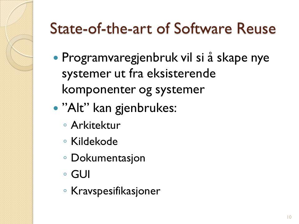 """State-of-the-art of Software Reuse Programvaregjenbruk vil si å skape nye systemer ut fra eksisterende komponenter og systemer """"Alt"""" kan gjenbrukes: ◦"""
