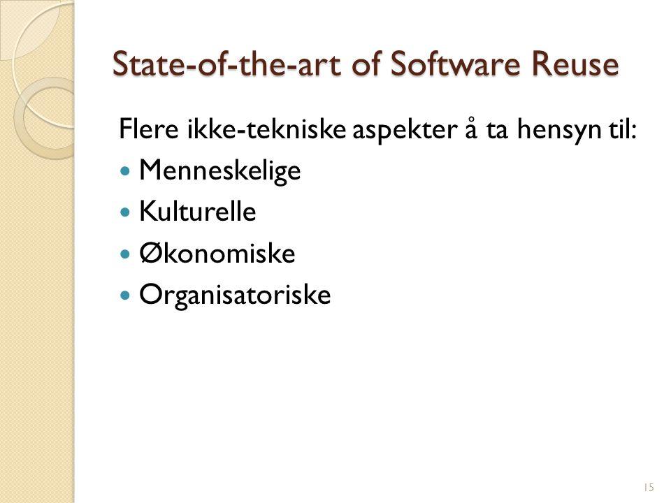 State-of-the-art of Software Reuse Flere ikke-tekniske aspekter å ta hensyn til: Menneskelige Kulturelle Økonomiske Organisatoriske 15