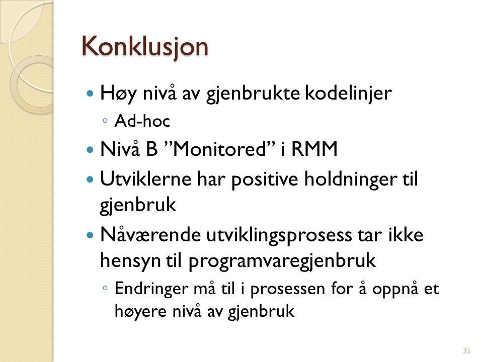 """Konklusjon Høy nivå av gjenbrukte kodelinjer ◦ Ad-hoc Nivå B """"Monitored"""" i RMM Utviklerne har positive holdninger til gjenbruk Nåværende utviklingspro"""