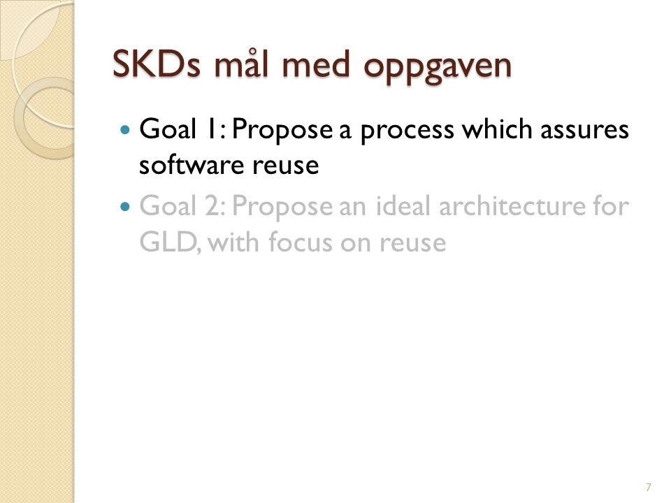 Tema State-of-the-art innen programvaregjenbruk Undersøkelse av nåværende gjenbruksnivå i GLD- systemene Gjennomgang av SKDs utviklingsprosess Gjennomgang av muligheteter for systematisk gjenbruk innen SKD 8