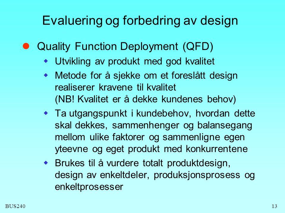 BUS24013 Evaluering og forbedring av design Quality Function Deployment (QFD)  Utvikling av produkt med god kvalitet  Metode for å sjekke om et foreslått design realiserer kravene til kvalitet (NB.