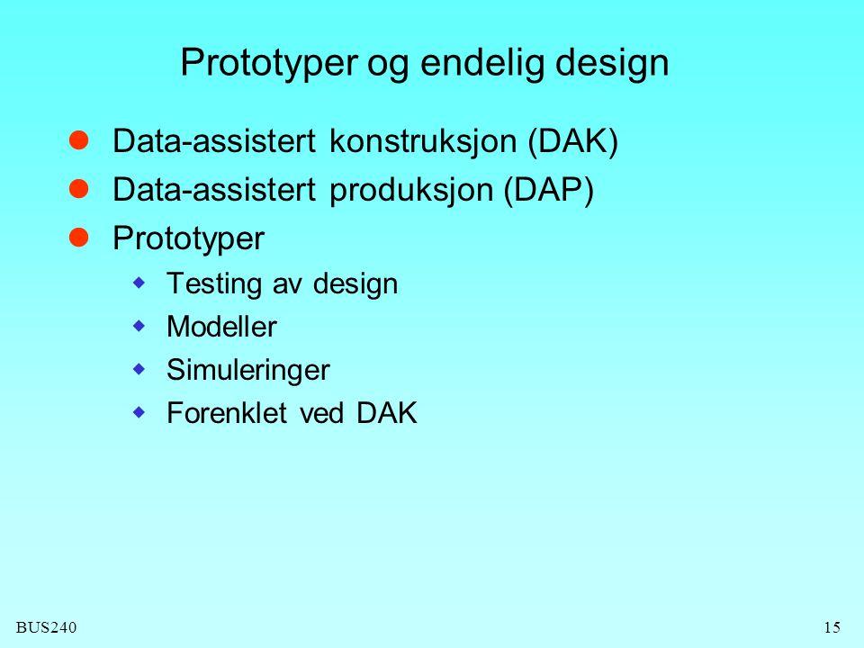 BUS24015 Prototyper og endelig design Data-assistert konstruksjon (DAK) Data-assistert produksjon (DAP) Prototyper  Testing av design  Modeller  Simuleringer  Forenklet ved DAK
