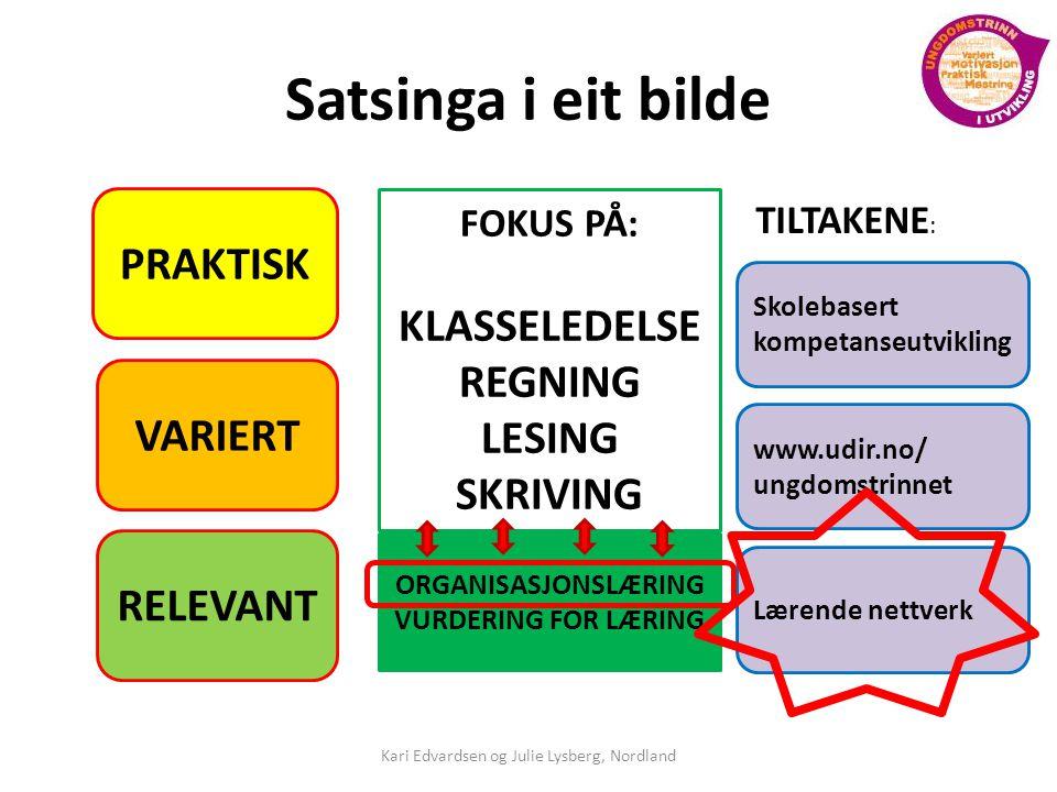 Satsinga i eit bilde PRAKTISK VARIERT RELEVANT FOKUS PÅ: KLASSELEDELSE REGNING LESING SKRIVING ORGANISASJONSLÆRING VURDERING FOR LÆRING Skolebasert kompetanseutvikling TILTAKENE : www.udir.no/ ungdomstrinnet Lærende nettverk Kari Edvardsen og Julie Lysberg, Nordland