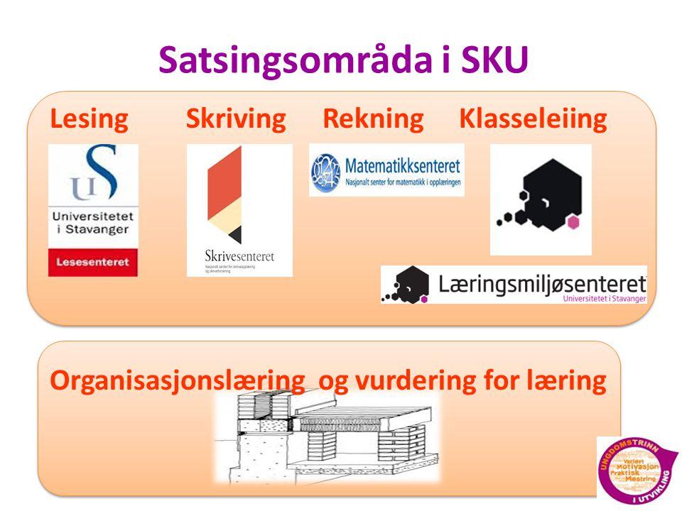Satsingsområda i SKU LesingSkrivingRekningKlasseleiing Organisasjonslæring og vurdering for læring