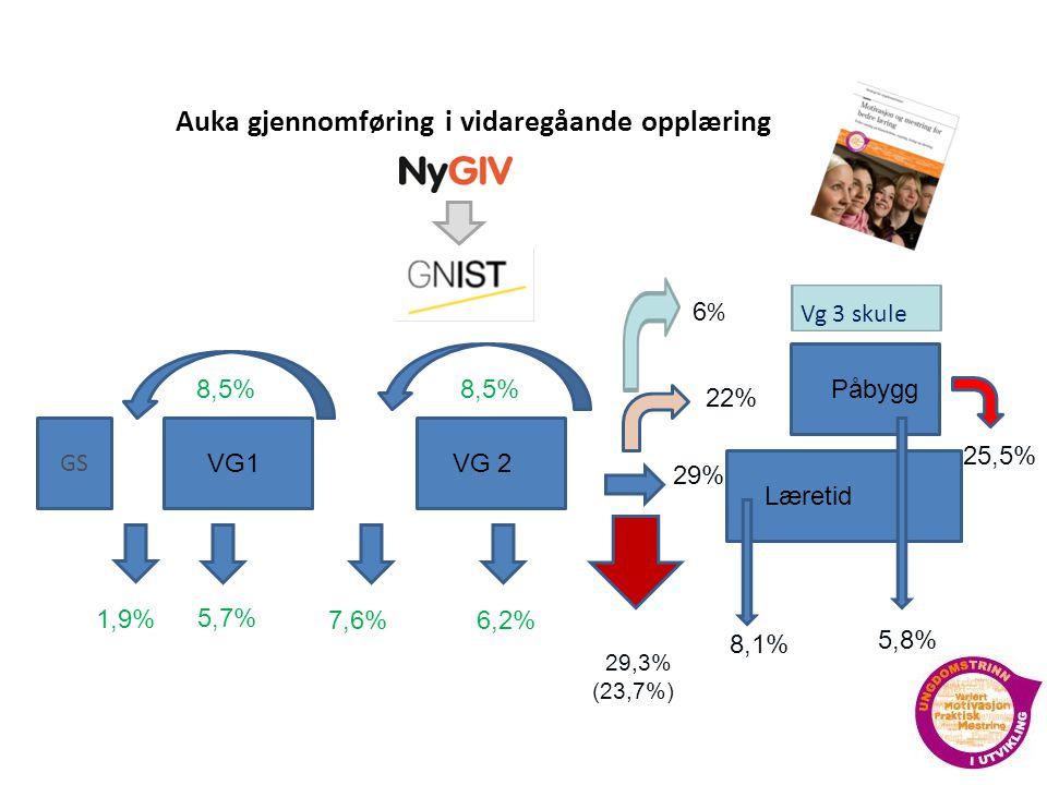 Prosjektkoordinator Ny VG1VG 2 Læretid 8,5% Påbygg 5,7% 7,6%6,2% 2922222 229,3% (23,7%),3% ( 29,3% 22% 2% 2 55,8%,8% 8,8,1% % GS 1,9% 25,5% 5,5% 6 % 6%6 % Vg 3 skule 29% Auka gjennomføring i vidaregåande opplæring