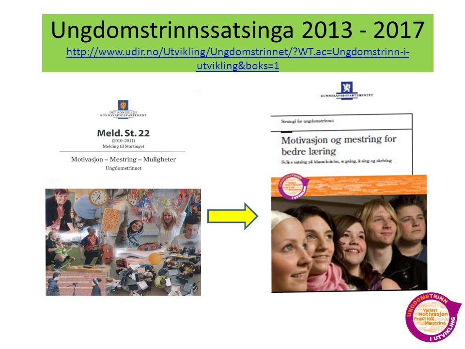 Ungdomstrinnssatsinga 2013 - 2017 http://www.udir.no/Utvikling/Ungdomstrinnet/?WT.ac=Ungdomstrinn-i- utvikling&boks=1 http://www.udir.no/Utvikling/Ungdomstrinnet/?WT.ac=Ungdomstrinn-i- utvikling&boks=1