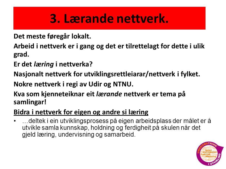 3.Lærande nettverk. Det meste føregår lokalt.