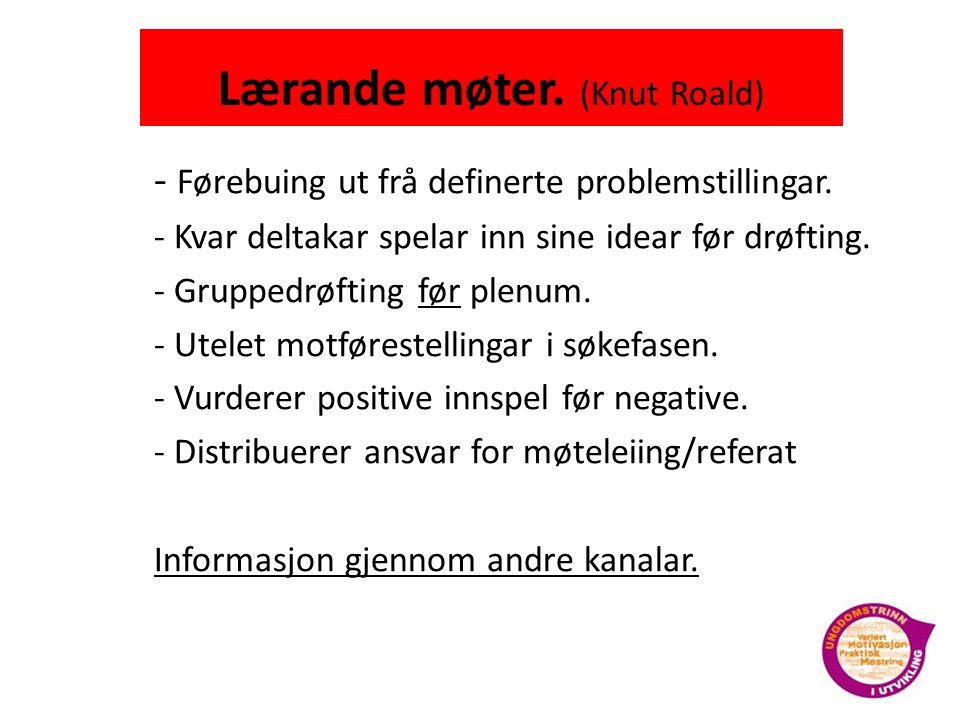 Lærande møter.(Knut Roald) - Førebuing ut frå definerte problemstillingar.