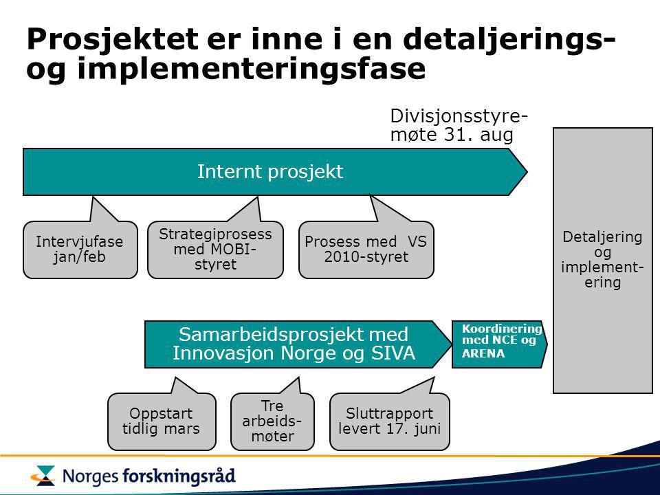 Prosjektet er inne i en detaljerings- og implementeringsfase Internt prosjekt Samarbeidsprosjekt med Innovasjon Norge og SIVA Divisjonsstyre- møte 31.