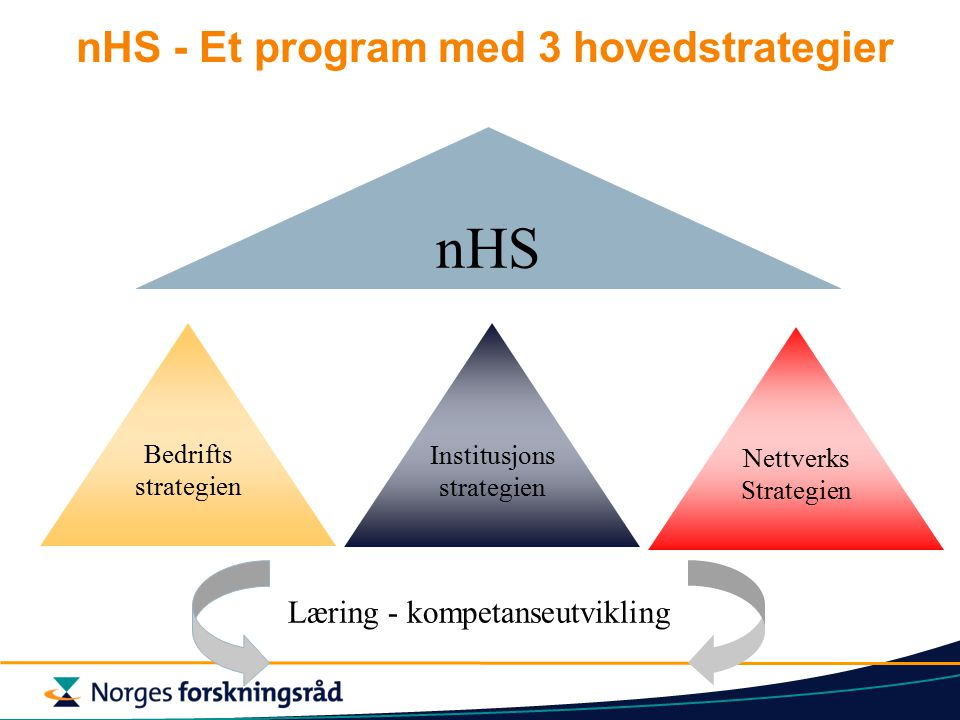 nHS - Et program med 3 hovedstrategier Bedrifts strategien Institusjons strategien Nettverks Strategien nHS Læring - kompetanseutvikling