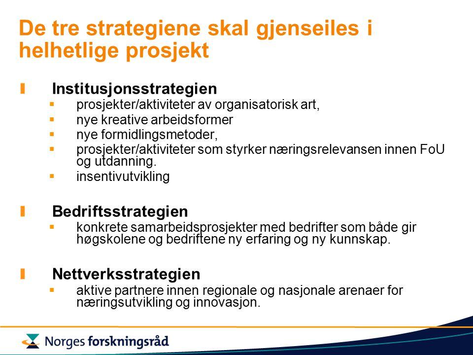 De tre strategiene skal gjenseiles i helhetlige prosjekt Institusjonsstrategien  prosjekter/aktiviteter av organisatorisk art,  nye kreative arbeidsformer  nye formidlingsmetoder,  prosjekter/aktiviteter som styrker næringsrelevansen innen FoU og utdanning.
