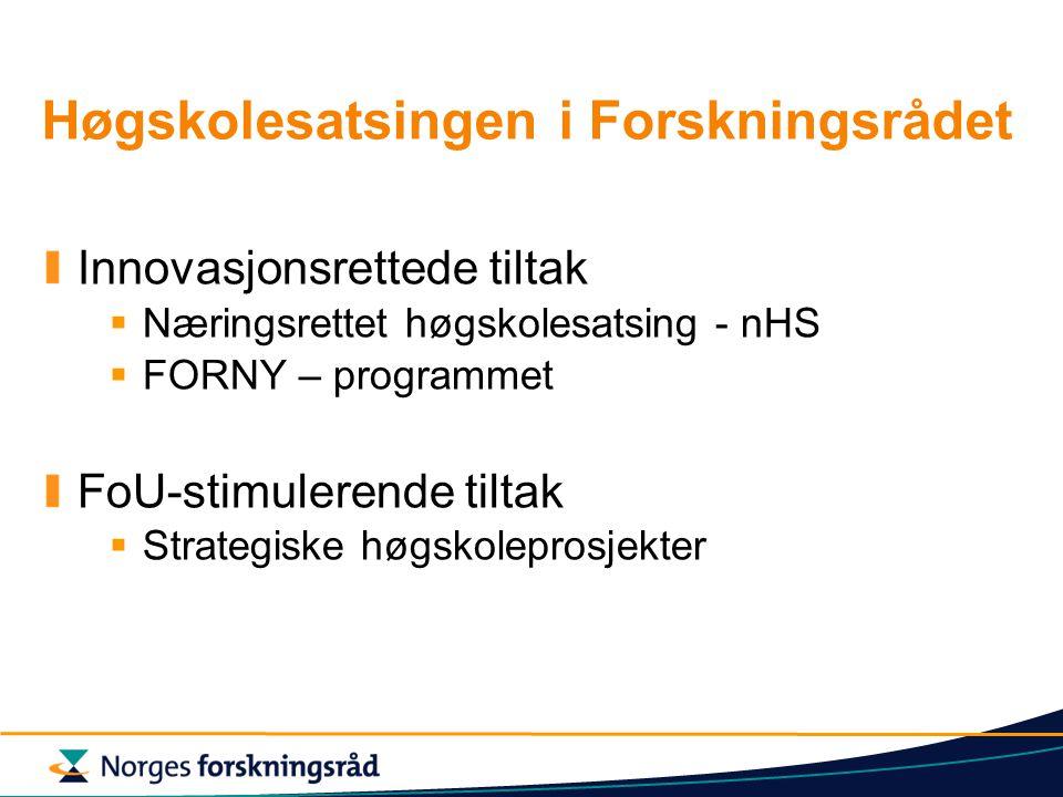 Høgskolesatsingen i Forskningsrådet Innovasjonsrettede tiltak  Næringsrettet høgskolesatsing - nHS  FORNY – programmet FoU-stimulerende tiltak  Strategiske høgskoleprosjekter