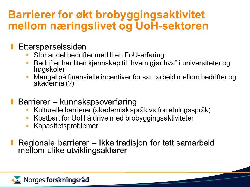 Barrierer for økt brobyggingsaktivitet mellom næringslivet og UoH-sektoren Etterspørselssiden  Stor andel bedrifter med liten FoU-erfaring  Bedrifter har liten kjennskap til hvem gjør hva i universiteter og høgskoler  Mangel på finansielle incentiver for samarbeid mellom bedrifter og akademia ( ) Barrierer – kunnskapsoverføring  Kulturelle barrierer (akademisk språk vs forretningsspråk)  Kostbart for UoH å drive med brobyggingsaktiviteter  Kapasitetsproblemer Regionale barrierer – Ikke tradisjon for tett samarbeid mellom ulike utviklingsaktører