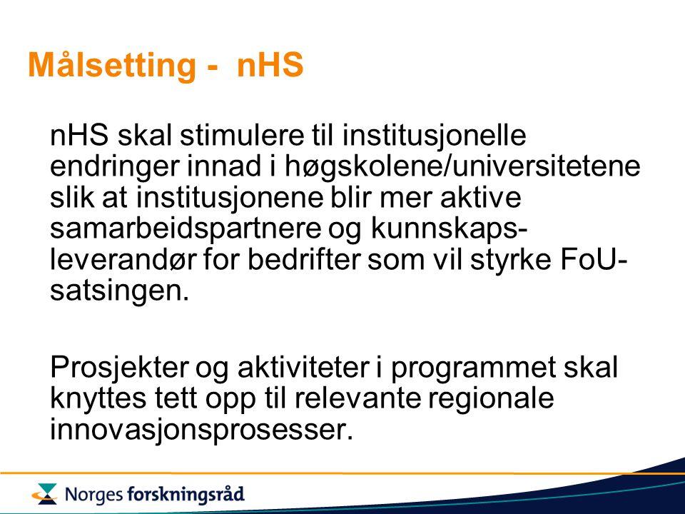 Målsetting - nHS nHS skal stimulere til institusjonelle endringer innad i høgskolene/universitetene slik at institusjonene blir mer aktive samarbeidspartnere og kunnskaps- leverandør for bedrifter som vil styrke FoU- satsingen.