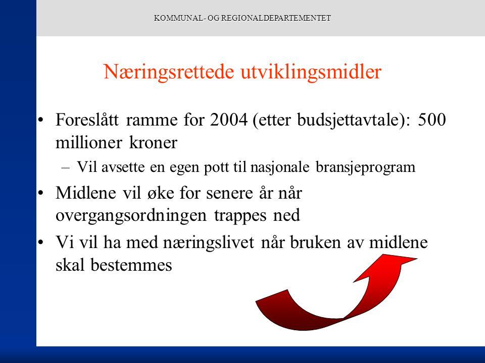KOMMUNAL- OG REGIONALDEPARTEMENTET Næringsrettede utviklingsmidler Foreslått ramme for 2004 (etter budsjettavtale): 500 millioner kroner –Vil avsette